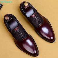 QYFCIOUFU 2019 Fashion Man Formal Shoes High Quality Genuine Leather Personality Men Business Dress Oxford Wedding Shoes US 11.5