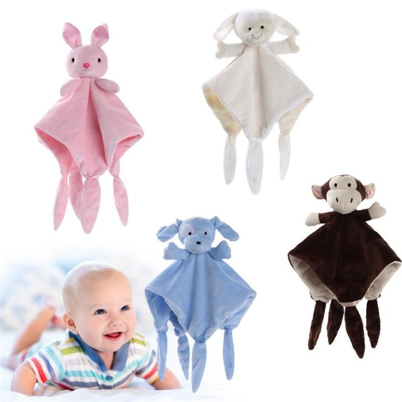2018 Newborn Soft Baby Teddy Bear Puppet Toy Gift Snuggle Baby Comforter Blanket  K25