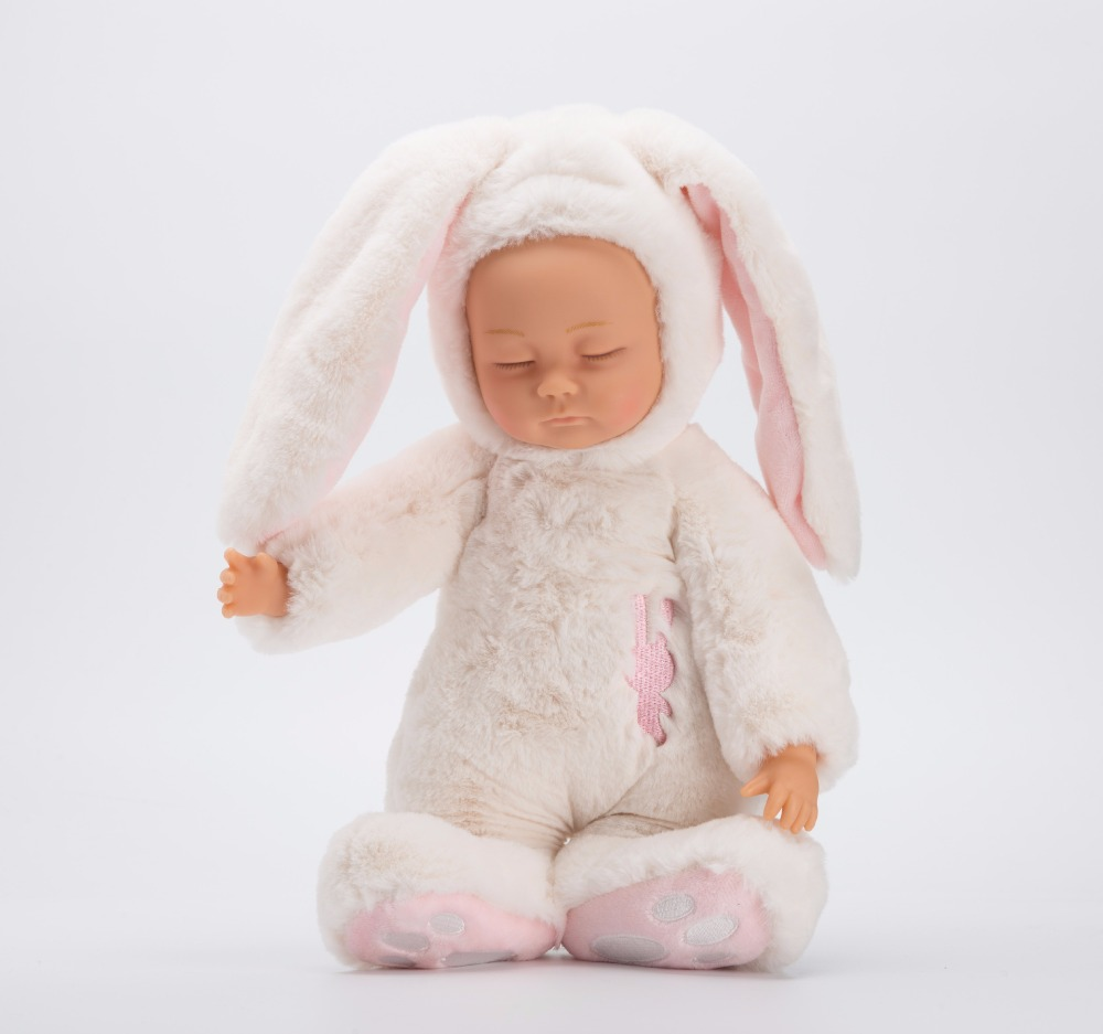 40cm Cute Simulation dolls & Reborn baby doll Sleep placate fashion bunny rabbit doll plush toy soft baby kids child gift