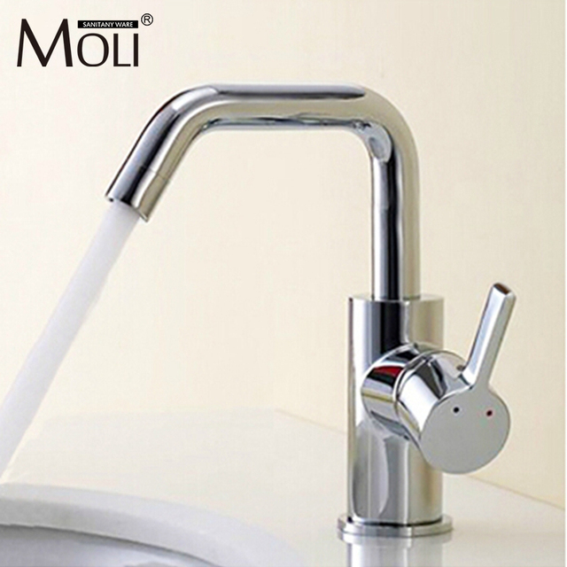 Contemporary bathroom water tap mixer polished chrome finish deck ...