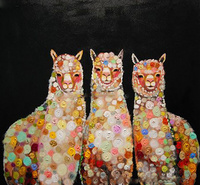 Handmade Abstract Three Alpaca Oil Painting on Canvas For Living Room Decor Hand Painted Modern Abstract Animal black Paintings