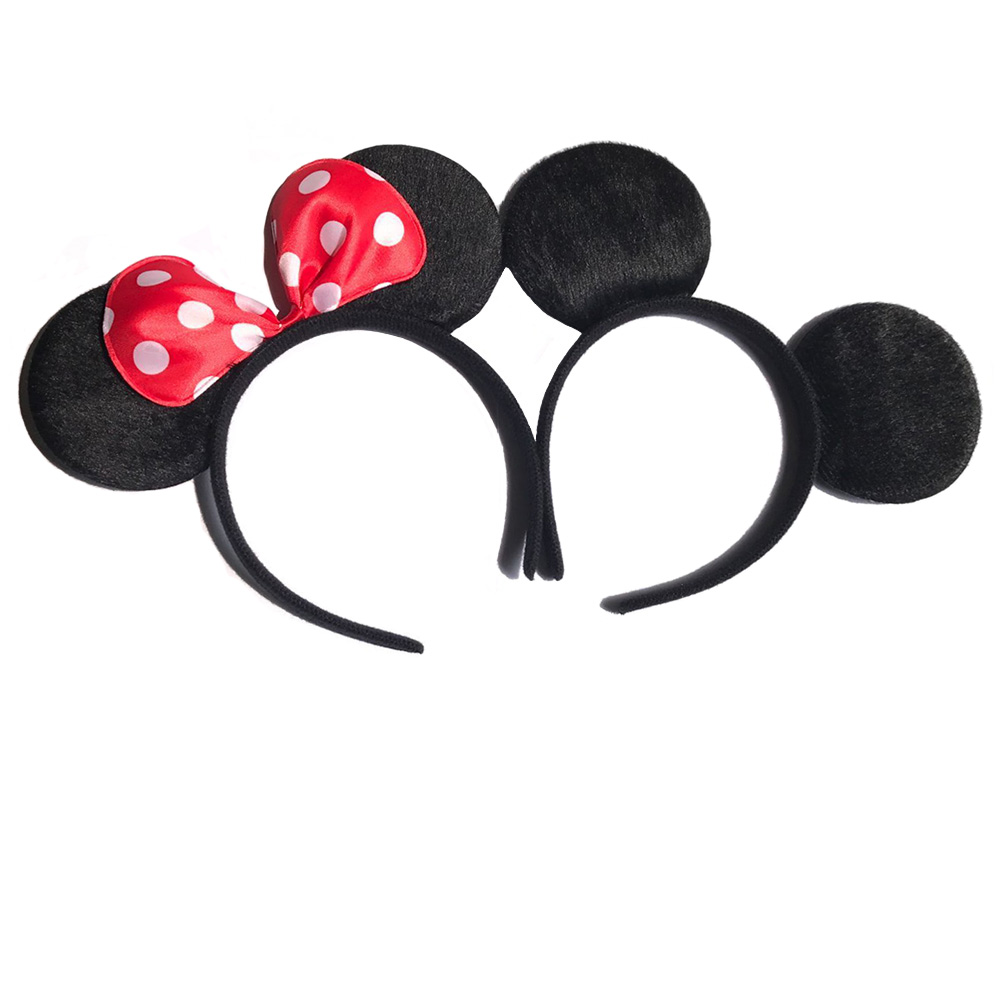 12pcs Hair Accessories  Minnie/Mickey Ears Solid Black & Red Bow Headband for Boys and Girls Birthday Party or Celebrations 12pcs hair accessories mickey minnie mouse ears solid black sequins headbands headwear for boy girl birthday party celebration
