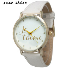 snowshine #10    Luxury Women Men Je taime Leather Crystal Dial Analog Quartz Dial Watch   free shipping