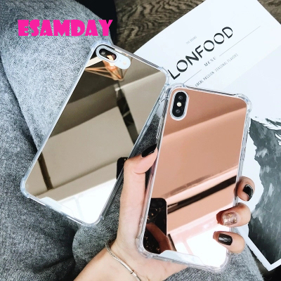 Esamday Luxury Mirror Electroplating Soft Shockproof Tpu Cases For X XS MAX XR Cover Protective cases For iPhone 6 6s 7 8Plus(China)