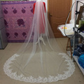 Veu De Noiva Elegant 1 Layer Chapel Length Wedding Veil Lace Bridal Veil 2017 New