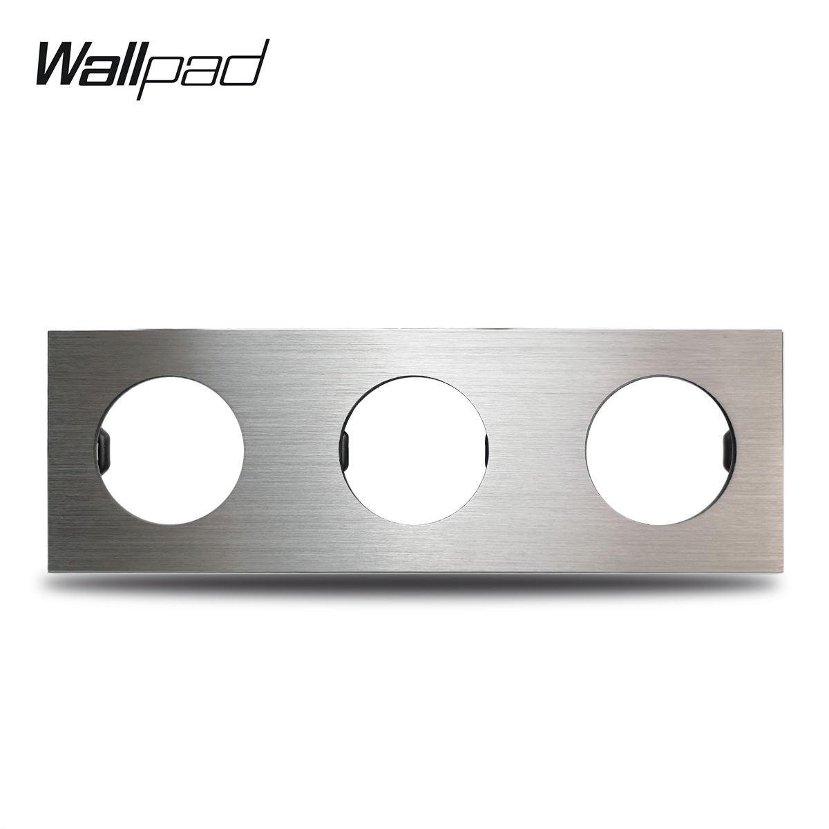 L6 DIY Triple Silver Panel Brushed Aluminum For Wall Switch Socket 3 Gang Frame Metal Plate Free Combination, 258*86mm