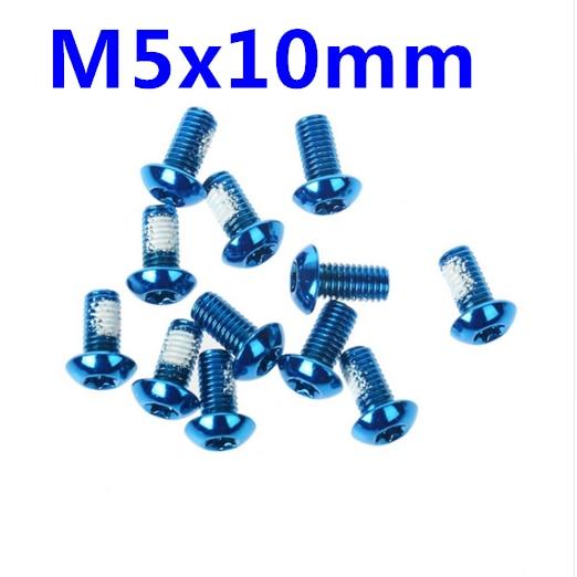 12Pcs  M5x10mm bike bicycle disc brakes Rotor Screw Bolts nuts Torx T25 Head  blue avid rotor bolt kit 6x torx bolts