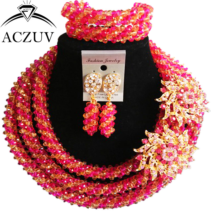 ACZUV Hot Pink and Gold AB Crystal Costume African Beads Jewelry Set Nigerian Necklace Wedding Accssories A3R021