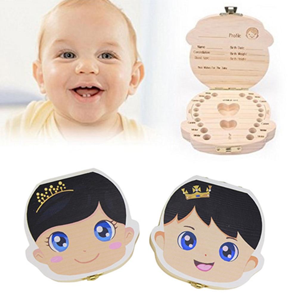 1 PC Wooden Kids Baby Tooth Box Organizer Milk Teeth Wood Storage Box Boy Girl Save Teeth First Holder Keepsake Drop Shipping