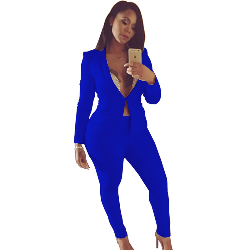 2018 <font><b>sexy</b></font> v-neck jacket+long legging pant suit <font><b>2</b></font> Two <font><b>piece</b></font> Pant <font><b>Set</b></font> long sleeve spring blue white black bodycon slim elegant <font><b>set</b></font> image