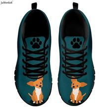 Jackherelook Kawaii 3D Dog/Puppy Chihuahua Printed Female Air Mesh Sneakers Breathable Summer Woman Flats Shoes Casual Footwear