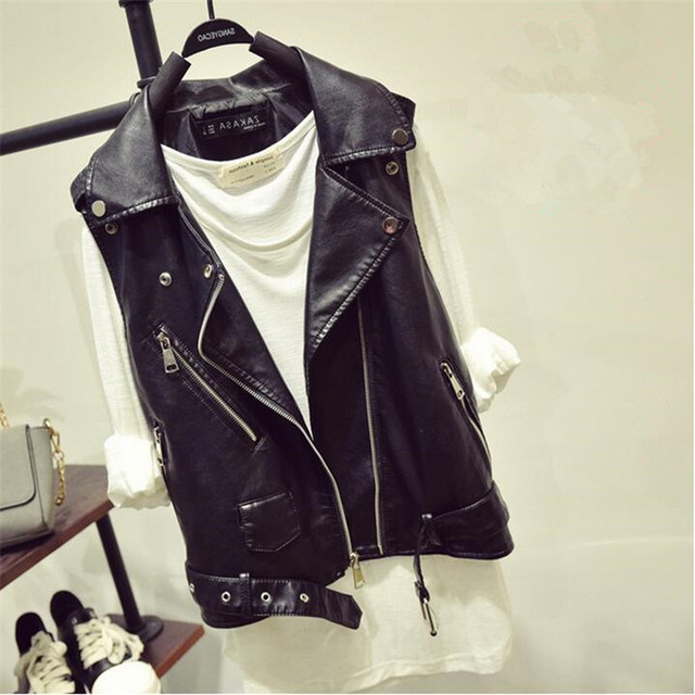 Women Leather Vest Pu Soft Vest2016Autumn Tatical Leather Motorcycle Vest Waistcoat Rivet Colete Female Biker Jacket A2745