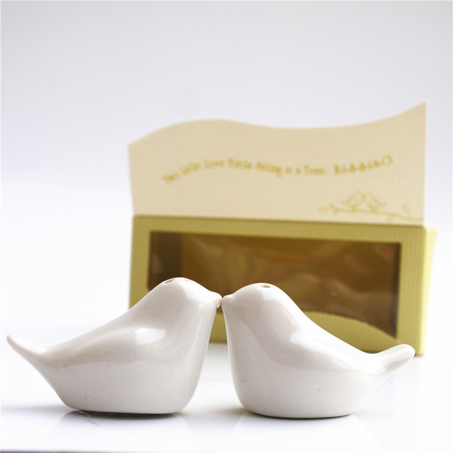 Love birds salt and favors gifts 20 sets newest wedding favors bird salt pepper shaker Wedding