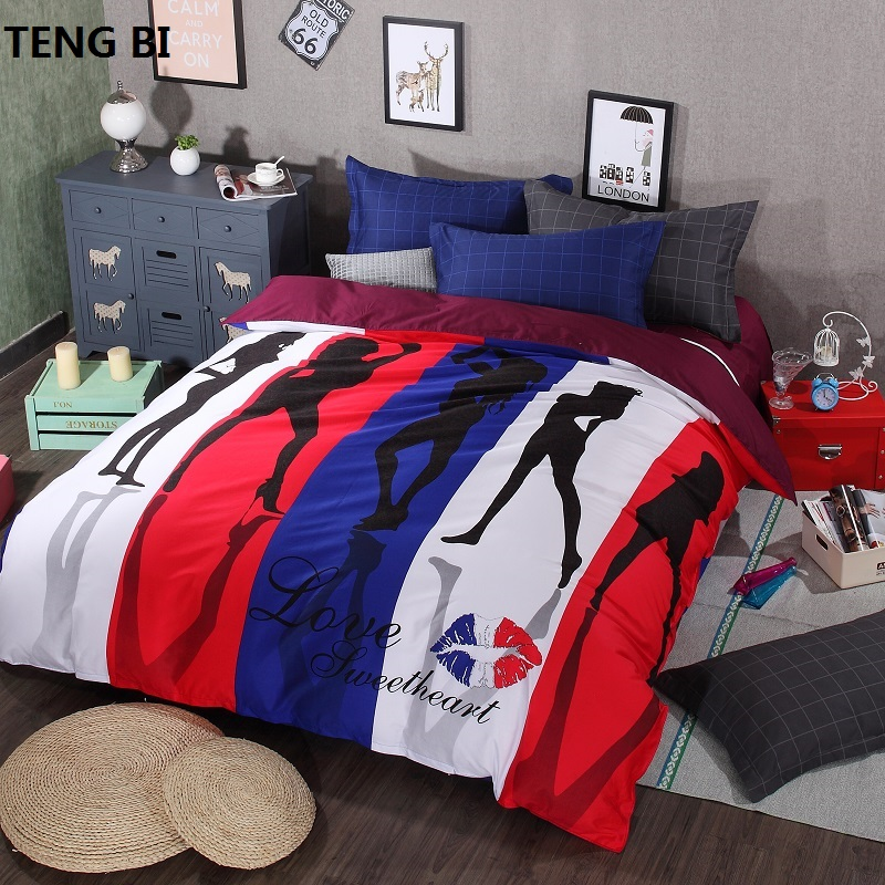 2016 new 4pcs 100% cotton 3d bedding sets of scenery people Europe and the United States fashion, queen size king size quilt cov2016 new 4pcs 100% cotton 3d bedding sets of scenery people Europe and the United States fashion, queen size king size quilt cov