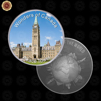 WR Business Souvenir Gifts Canada Peace Tower Art Crafts Decorative Silver Coin Metal Crafts for Home Decor and Collection