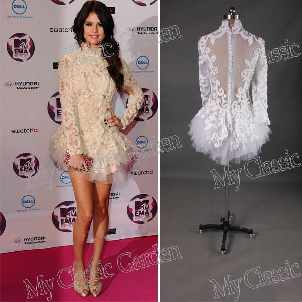 5fa53c0187 Hot Selling High Collar Long Sleeves See-Through Mini Short Open Back  Designer Couture Cocktail Dresses Gowns For Party 2013