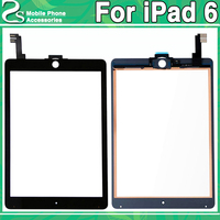 Tested For iPad 6 Touch Screen For iPad Air 2 A1566 A1567 Touch Sensor Glass Digitizer Panel Front Back Adhesive Sticker