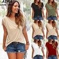 Nova Moda Verão Tops Casual Mulheres Camisetas Femininas de Algodão Cor Sólida Básico camisa Borla T das Mulheres Plain Em Branco T camisas