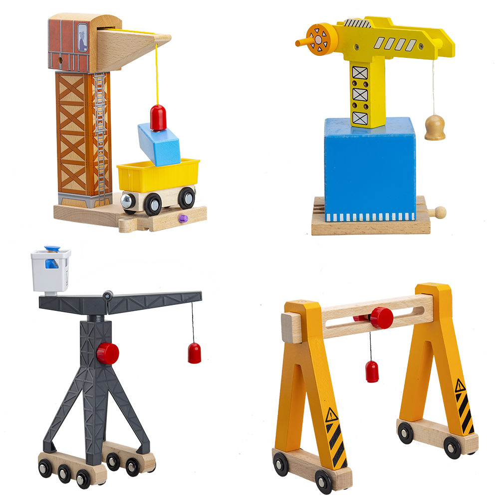 Wooden Cranes Toys Wooden Train Track Railway Accessories Cranky Move House Educational Slot DIY Wood Tracks