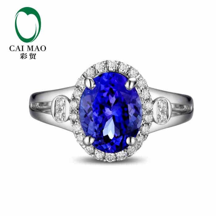 CaiMao 18KT/750 Белое золото 2,16 ct натуральный IF Синий танзанит AAA 0,19 ct полный разрез алмаз помолвка драгоценный камень кольцо ювелирные изделия