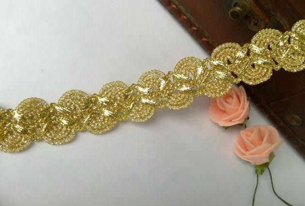 10yard 2cm Gold Lace Trim Bridal Veil Trim Embroidery Applique Lace