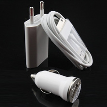 3 in 1 Mobile phone Travel Convenient Wall EU Plug + Car charger + data USB Cable Kit for apple iPhone 4 4S 3GS 3G iPod Touch