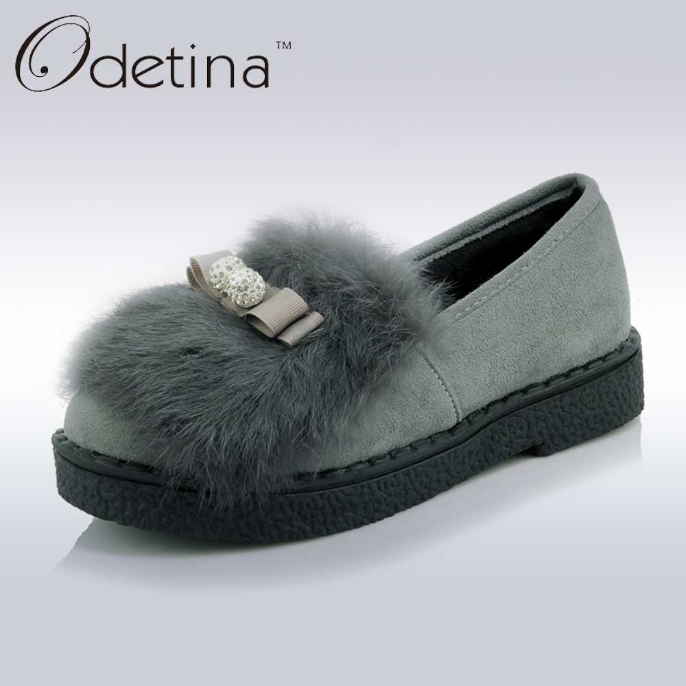 090e38ce45f Odetina Suede Fur Loafers Women Large Size Boat Shoes Ladies Slip on Shoes  Platform Cute Flat Shoes For Women 2018 Spring Autumn
