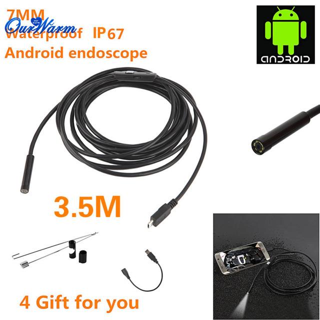6 LED 7mm Lente Android USB Endoscópio Endoscópio Tubo de Inspeção Câmera com 3.5 m de Cabo À Prova D' Água Espelho Gancho Ímã