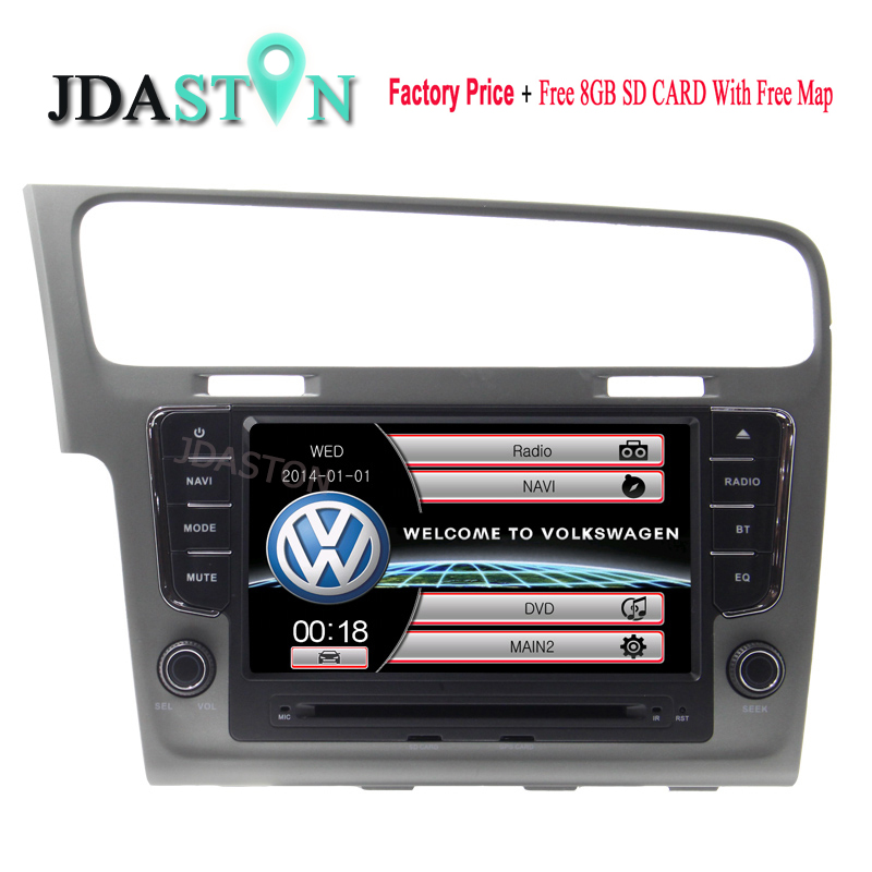 JDASTON 8 INCH Car DVD Player For VW VolksWagen Golf 7 2013 Bluetooth GPS Navigation Free map FM AM RDS IPOD Audio Touch Screen цена