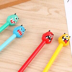 Image 2 - 100 шт., нейтральная ручка с милым монстром, черная ручка с монстрами, Канцелярия: ручка с подписью, Kawaii, школьные принадлежности