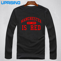 Autumn Fashion Style United Kingdom Red Letter Printed Cotton Long Sleeves T Shirts Men Manchester Tops