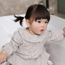 Cute Girls Blouse Baby Solid Tops Flower Collar Puff Sleeve Girl Clothes New