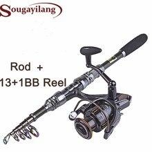 New 1.8- 3.0m Fishing Rod Set and 14BB Metal Spoon Reel Lure Spinning Fishing Reel vara de pesca de carbono