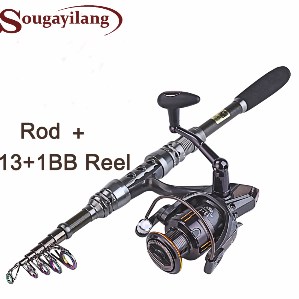 Sougayilang 1.8- 3.0m Carbone Télescopique Carp Canne À Pêche et 14BB Metal Spoon Reel Leurre Spinning Reel Pesca