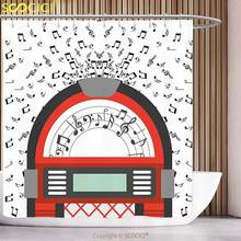 Polyester Shower Curtain Jukebox Cartoon Party Music Antique Old Vintage Retro Box with Notes Artwork Red Black Grey and White