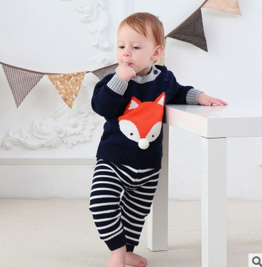 2017 Girl Boy Knitting Winter Sweater Kid Knit Jacket Long Sleeve Baby Clothes 2 pieces (Top + Pants