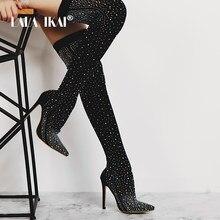 1b3d1b4ad371 LALA IKAI Women Black Knee Crystal Lycra Stretch Boots High Heels Pointed  Toe Night Club Slip-On Overknees Boots 014C1872 -4