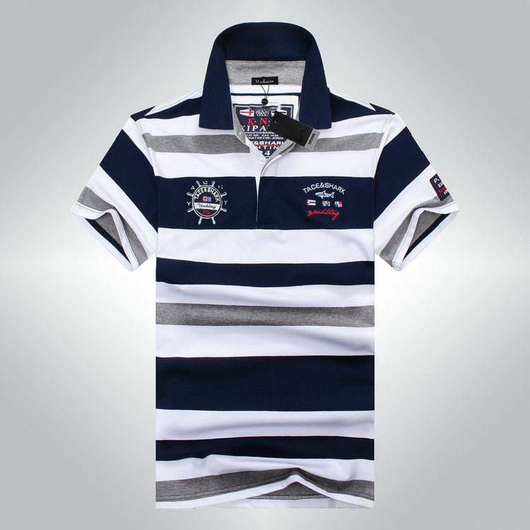 High Quality 2017 Men Classic Striped Polo Shirt Red And White Summer Cotton Short Sleeve Men Polos Shark New Arrivel Size M-3XL