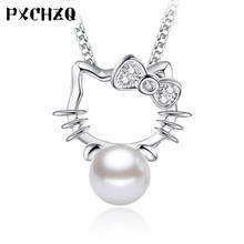 Women 's jewelry ultra - flash zircon imitation pearl necklace pendants Hello Kitty silver color simple and lovely fashion(China)
