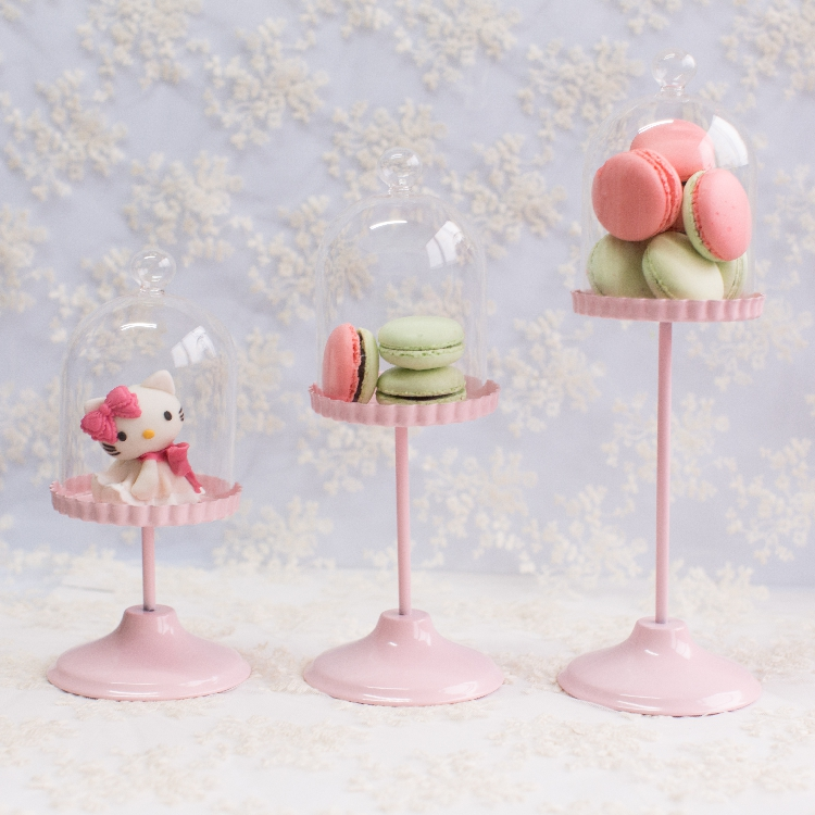 Fashion Pink Iron Mini Cake Stand With Glass Dome Dessert