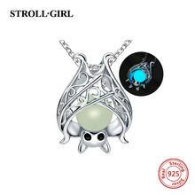 925 sterling silver lovely animal bat luminous charms beads necklace fit pandora chain pendant diy jewelry making for women gift