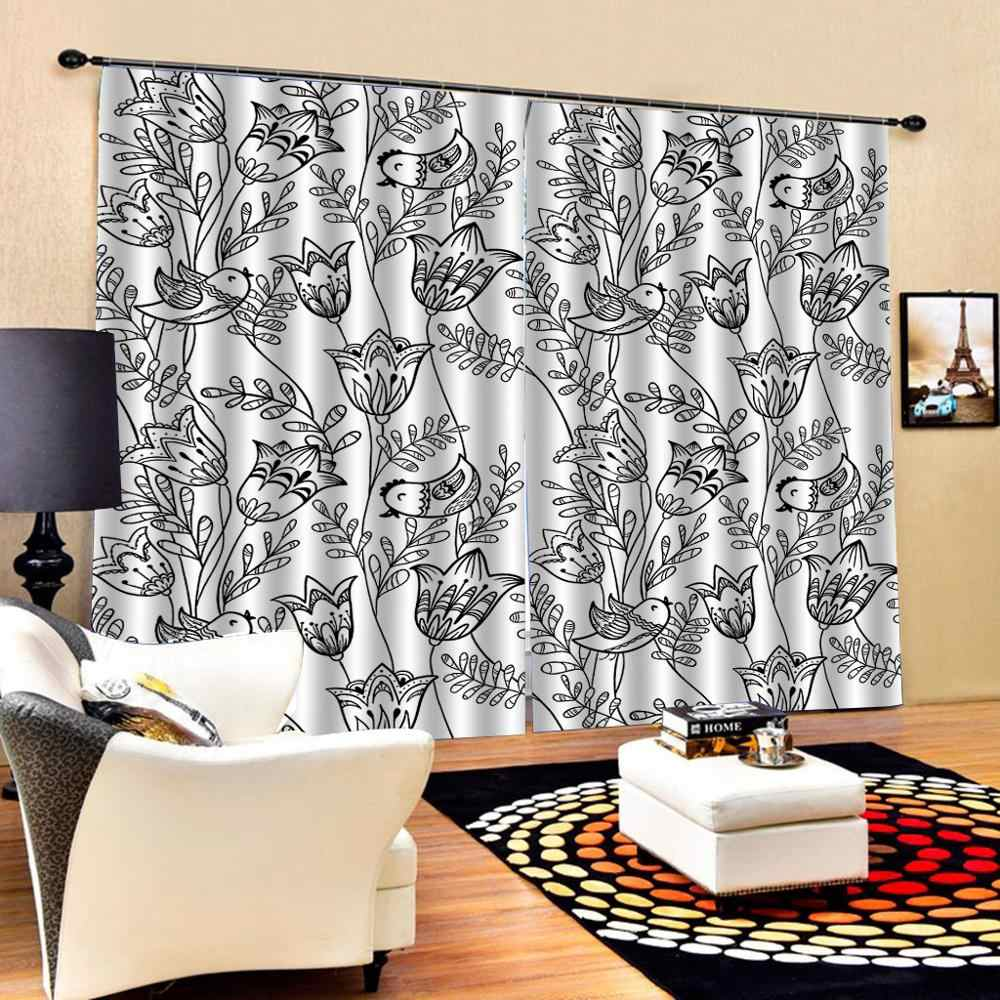 Window Blackout Luxury 3D Curtains set For Bed room Living room Office Hotel Home Wall black flower curtains 3d curtains