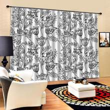 Window Blackout Luxury 3D Curtains set For Bed room Living room Office Hotel Home Wall black flower curtains 3d curtains(China)