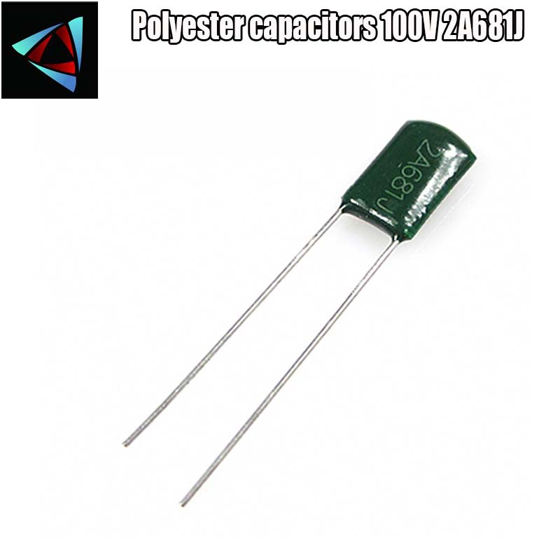 40pcs Polyester Film Capacitor  2A681J 100V 680pF 0.68nF