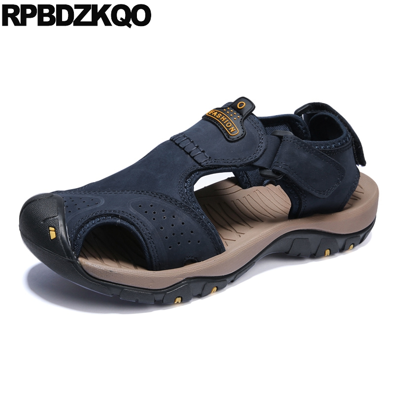 fad3ca1b8a Men Water Mens Sandals 2018 Summer Outdoor Shoes Closed Toe Leather  Platform Blue Sneakers Famous Brand Waterproof Brown Sport