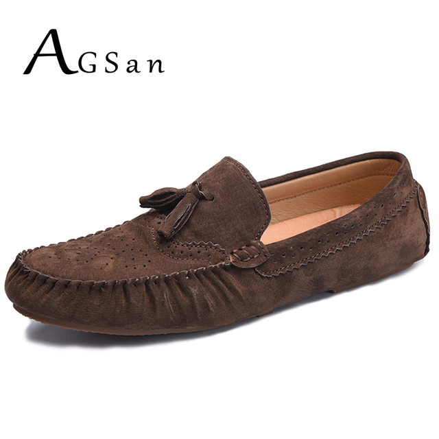 AGSan suede loafers men casual shoes blue black tassel loafers moccasins mens  italian driving shoes slip