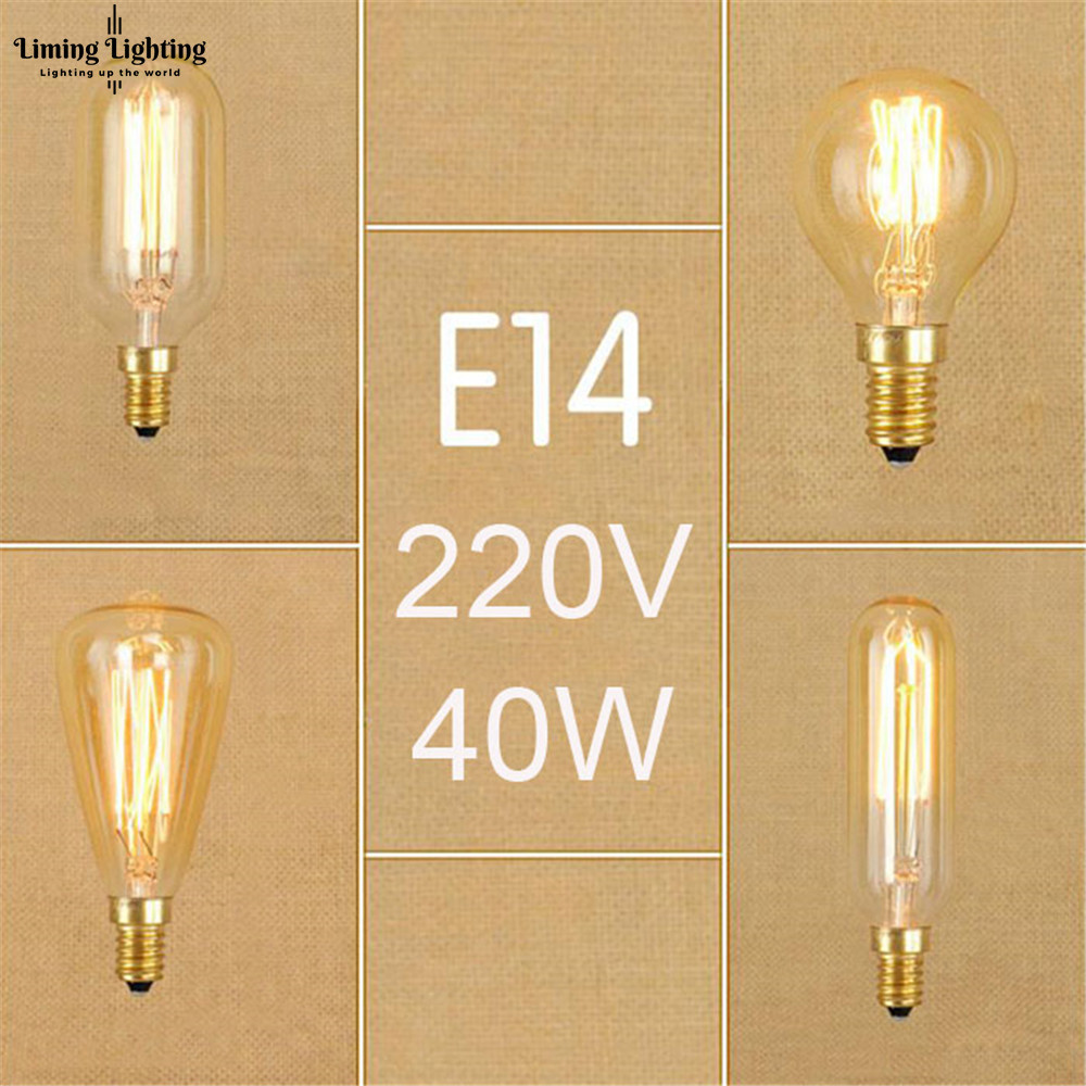 Bombillas de filamento G45 T25 ST48 T45 E14 220V 230V 240V Vintage 40W E14 Edison Retro bombilla de tornillo incandescente para luz colgante Novedad bombilla LED Bombillas E27 220V 4,5 W 8W 220V ampollas de calidad superior lámpara LED E27