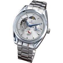 GOER марка мужская механическая автоматическая наручные часы Moon phase водонепроницаемый Tourbillon стали Световой мужской водонепроницаемые Часы