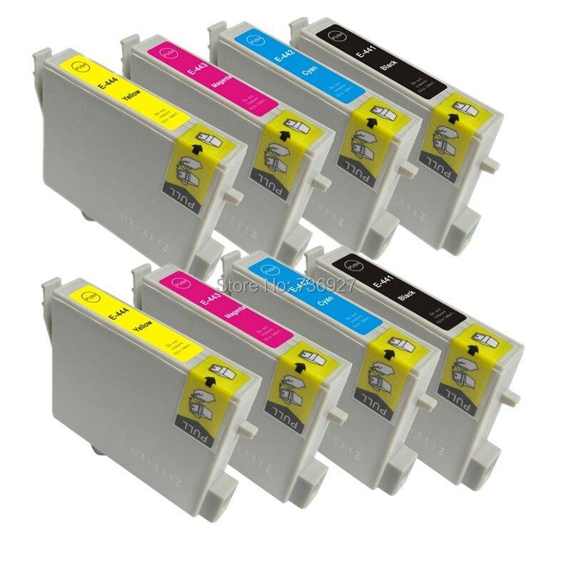 2 sätze kompatibel tintenpatronen t0441 t0442 t0443 t0444 für epson stylus c84...
