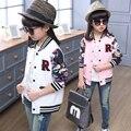 Chicas 2016 nueva primavera y otoño de cuello redondo de manga larga chaqueta de la camisa de POLO de los niños deportes EE. UU. Tamaño